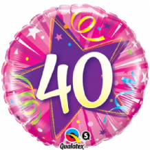 "40 Hot Pink Birthday Foil Balloon (18"") 1pc"